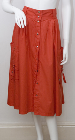 1980's Red Polished Cotton Skirt by Betty Barclay Size Medium