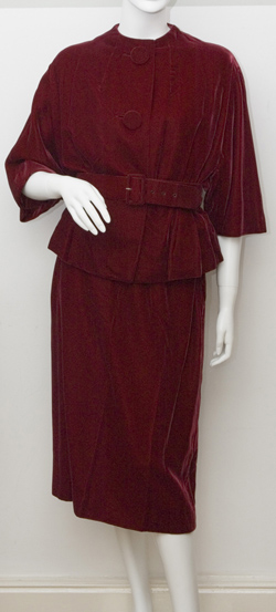 1950's Red Velvet Skirt Suit by London Town Size Medium