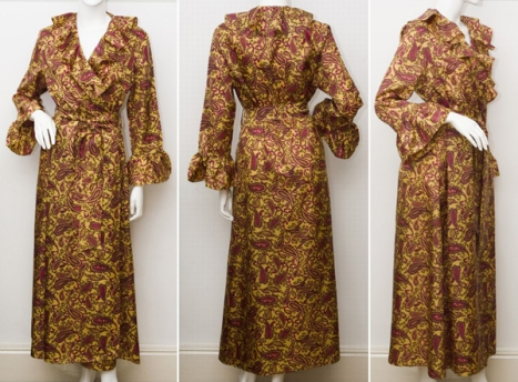 1960's Paisley Ruffle Robe by Marlow Size Medium from Catwalk Creative Vintage
