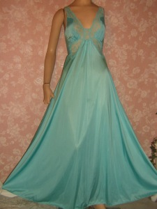 Vintage Olga Nightgown Teal Bodysilk Butterfly Lace Inset S M Full Sweep
