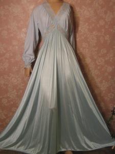 Powder Blue Secret Hug Olga Nightgown Nylon Flannel Top Long Sleeve S M L 787114a32