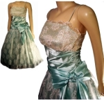 Pistacio and Lace Satin and Glitter 80s Prom Dress Small @pinehaven2